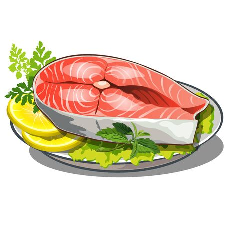 food plate: delicious steak of red fish with salad and lemon on plate, food