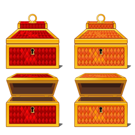 Red and orange magic chests, open and close. isolated Illustration