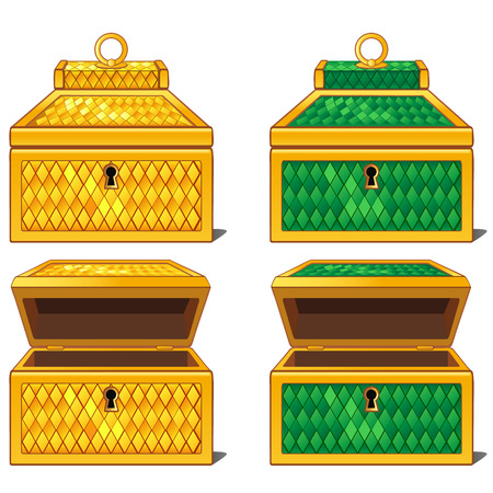 Yellow and green magic chests, open and close. isolated Illustration