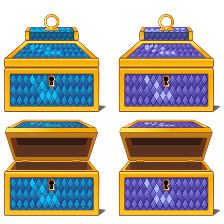 Blue and purple magic chests, open and close. isolated Illustration