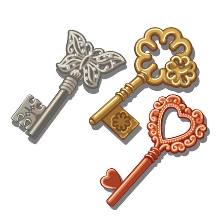 Three vintage key with butterfly, circle and heart ornament