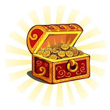 monies: Red glowing open chest with gold coins, isolated Illustration