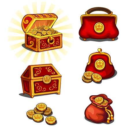 monies: Great wealth set, chest, purse and gold coins, six vector icons