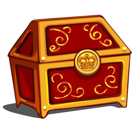 monies: Red closed treasure chest with royal golden seal, vector isolated Illustration