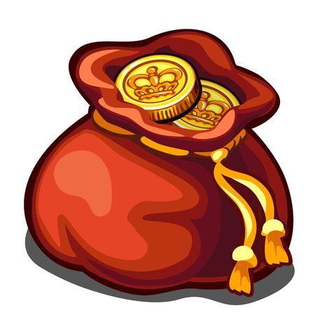 分離ベクトルのアイコン、富の象徴、金貨の袋