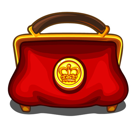 monies: Red handbag with royal golden seal, vector isolated