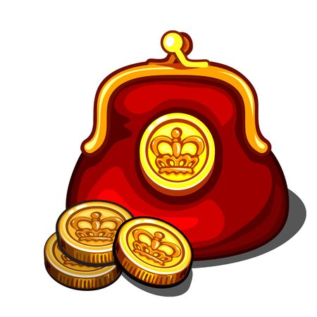 monies: Red handbag with royal golden coins, vector isolated