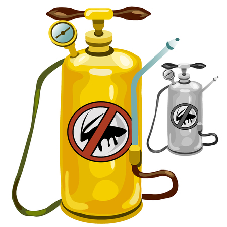 liquefied: Yellow tank an exterminator on white background