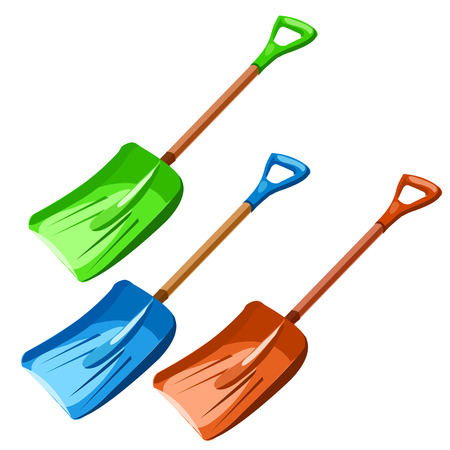 Green, blue and red plastic dustpan on white background Illustration