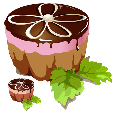 Chocolate cake with pink layer, dessert vector isolated