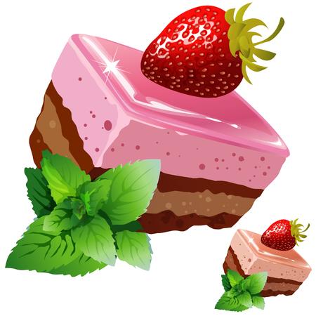 Chocolate strawberry sponge cake with mint, vector dessert