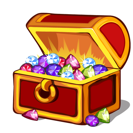 Open chest with precious colored stones. Vector isolated Illustration