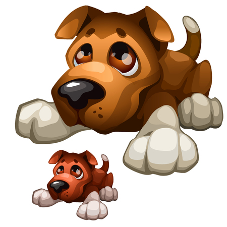 sad dog: Sad brown cartoon dog on a white background Illustration