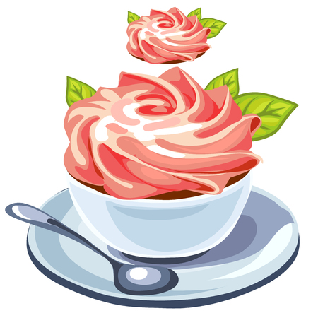creamy: Delicious creamy dessert in plate with spoon, vector isolated Illustration