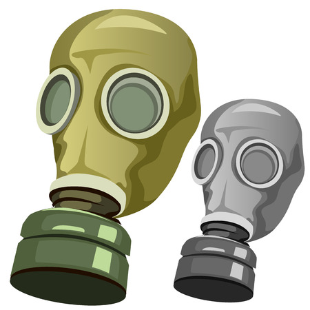 biological warfare: Old rubber gas mask on white background, vector illustration
