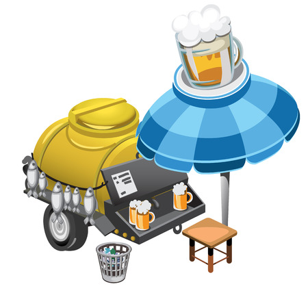 Selling beer and snacks from the barrel outdoors, vector isolated Illustration