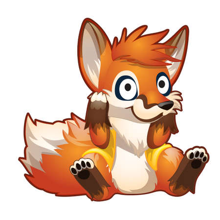 brooding: Brooding red cartoon sitting fox, vector character