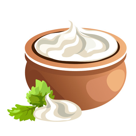 Clay pot with white cream, vector food