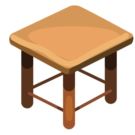 wooden stool: Simple wooden stool, top view. Vector isolated