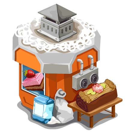 Patisserie with desserts and cakes in cartoon style