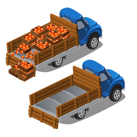 delivers: Truck delivers oranges, full car and empty. Vector illustration isolated