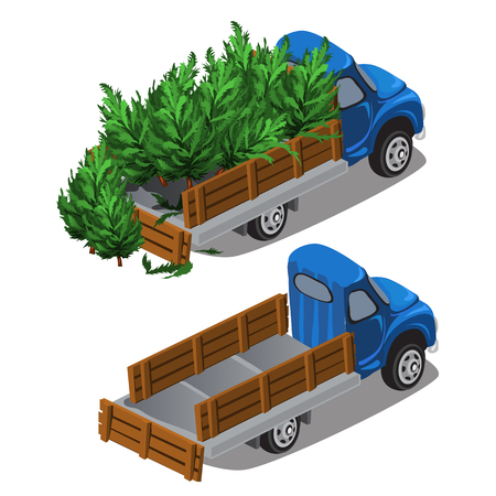 Truck delivers Christmas trees, car is full and empty, vector isolated
