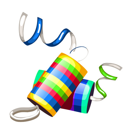 Festive party poppers with confetti. Vector isolated