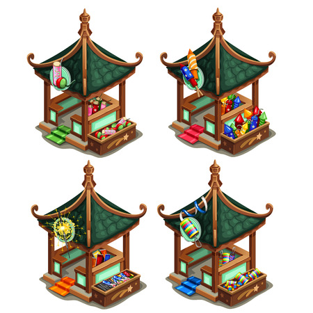 Pavilions in Oriental style with various firecrackers, vector illustration isolated
