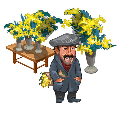 mimose: personaggio buffo uomo, venditore di mimose, caricatura. Vector isolato