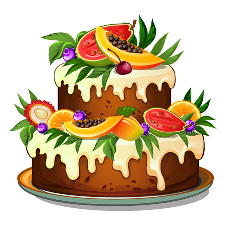 Cake decorated with tropical fruits. Vector dessert