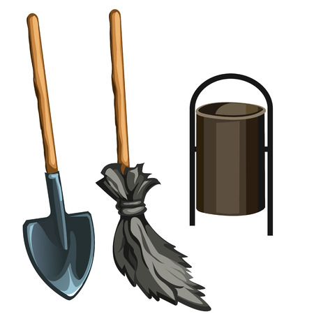 janitor: Working tools of janitor, broom, spade and bucket isolated. Vector illustration.