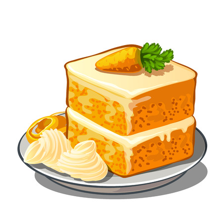 Delicious piece of carrot cake on plate with cream and a little carrot on top. Vector dessert isolated. Food illustration