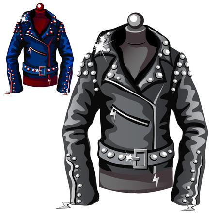 Black leather biker jacket. Vector illustration. Clothing isolated
