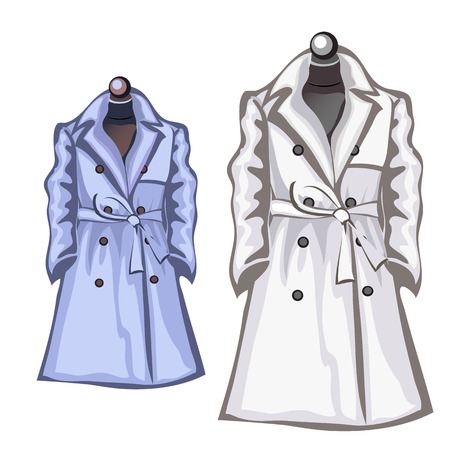 Womens autumn coats white and blue color. Vector illustration jacket. Clothing isolated Illustration