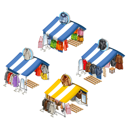 market place: Place for street sales of jackets and fur coats. Isometric vector illustration