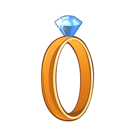 gemstone: Classic gold ring with blue gemstone isolated on a white background. Vector illustration Illustration