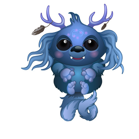 blue eyes: Cute smiling blue monster with horns and big eyes. Vector fairy tale character. Illustration isolated Illustration