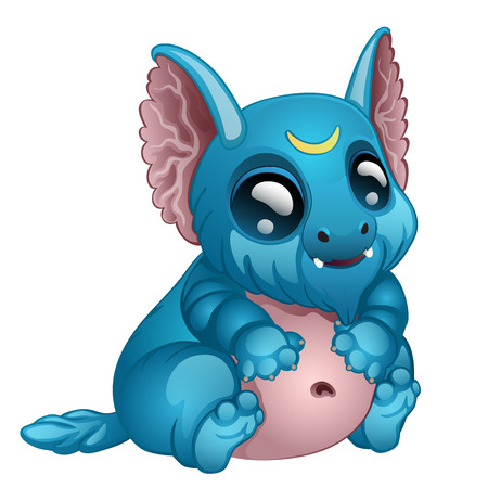 big eyes: Cute toothy blue monster with big eyes and ears. Vector fairy tale character. Illustration isolated