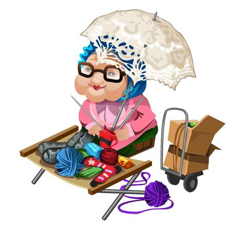 Grandma selling knitted socks. Vector illustration character