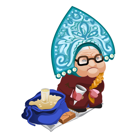 selling: Old woman selling seeds. Vector illustration character on white background Illustration