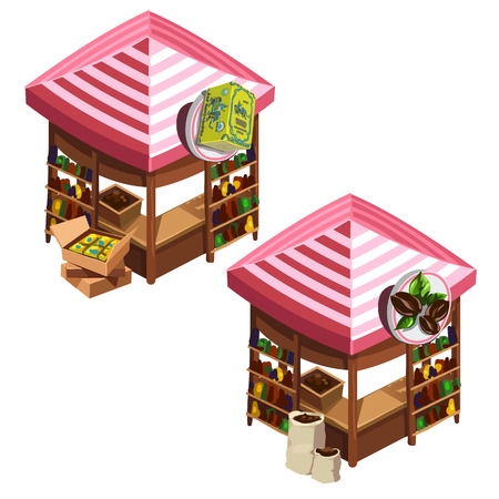 Two kiosk selling coffee and Indian tea. Isometric vector illustration on a white background