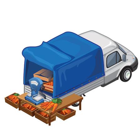 Selling carrot harvest from scooter. Vector illustration scene isolated. Selling vegetables Illustration