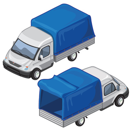 panel van: Van with blue tent for transport of goods. Two images front and back on white background. Vector illustration