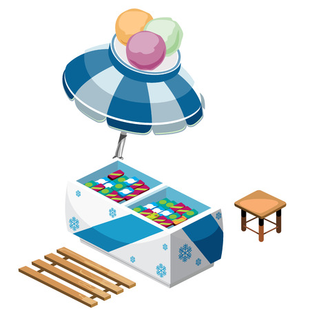 Kiosk selling ice cream and desserts outdoors. Isometric vector illustration