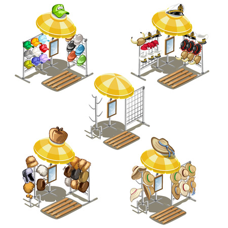 bonnet illustration: Place for street sales of summer cap and fur hats. Isometric vector illustration. 5 icons
