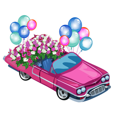 Pink cabriolet filled with flowers and balloons. Romantic gift for wedding and other holiday. Vector illustration isolated
