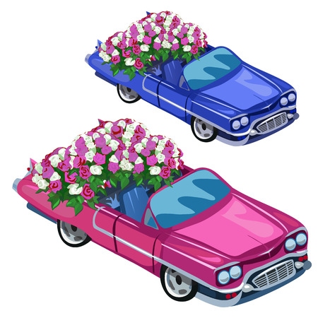 White and blue cabriolet with bouquet of roses on back seat. Romantic gift for wedding and other holiday. Vector illustration isolated