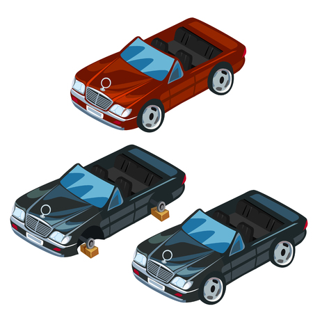 Black and red sports car with open top. Vector illustration, three icons isolated