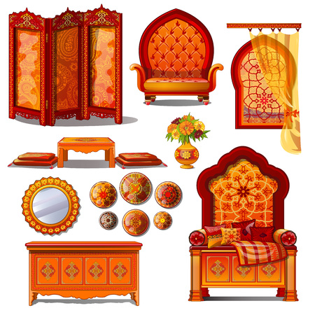 Rich luxury furniture in red and yellow tones in Oriental style. Set of nine items on white background. Vector illustration