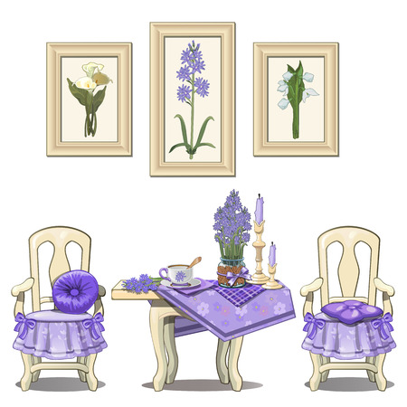 Romantic setting, table and two chairs with flowers and decor in purple color. Set of six items on white background. Vector illustration
